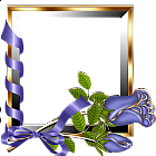 Gold and Silver Transparent Frame with Purple Roses