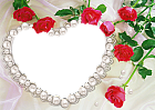 Pearl Heart and Roses Transparent Frame